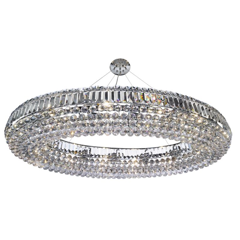 Searchlight-9190CC - Vesuvius - Crystal with Chrome 24 Light Oval Chandelier