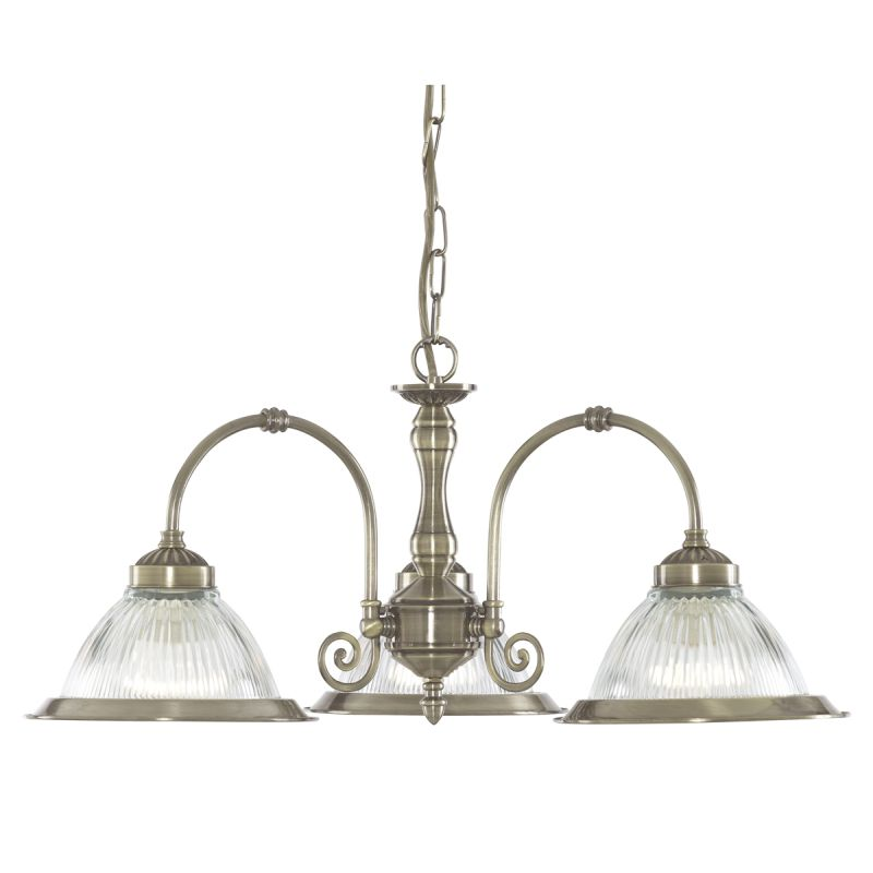 Searchlight-9343-3 - American Diner - Ribbed Glass & Antique Brass 3 Light Centre Fitting
