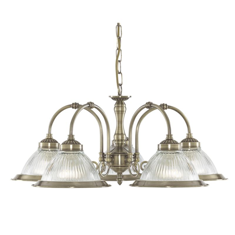 Searchlight-9345-5 - American Diner - Ribbed Glass & Antique Brass 5 Light Centre Fitting