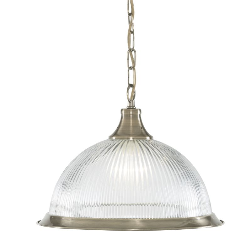 Searchlight-9369 - American Diner - Ribbed Glass & Antique Brass Single Pendant