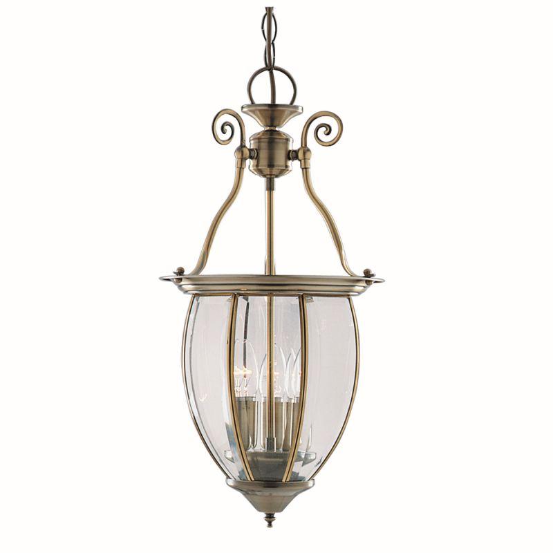 Searchlight-9501-3 - Lantern - Decorative Antique Brass with Glass 3 Light Lantern Pendant