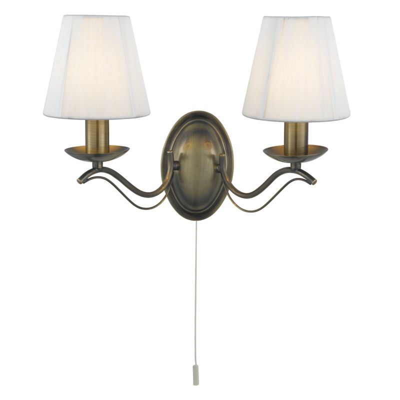 Searchlight-9822-2AB - Andretti - Cream Shade with Antique Brass Twin Wall Lamp