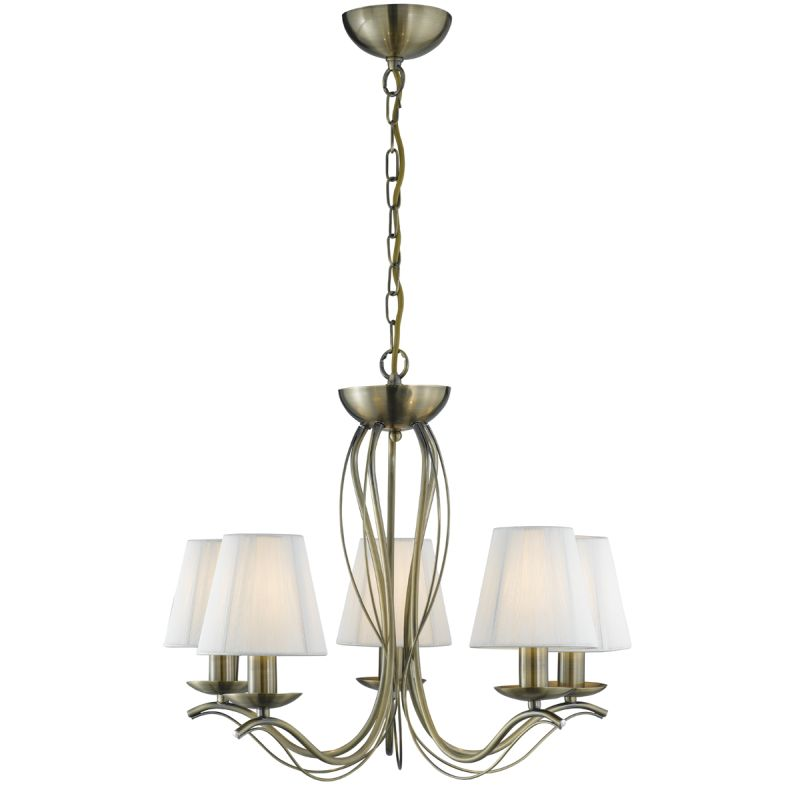 Searchlight-9825-5AB - Andretti - Cream Shade with Antique Brass 5 Light Centre Fitting