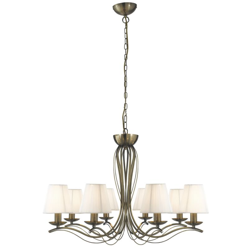 Searchlight-9828-8AB - Andretti - Cream Shade with Antique Brass 8 Light Centre Fitting