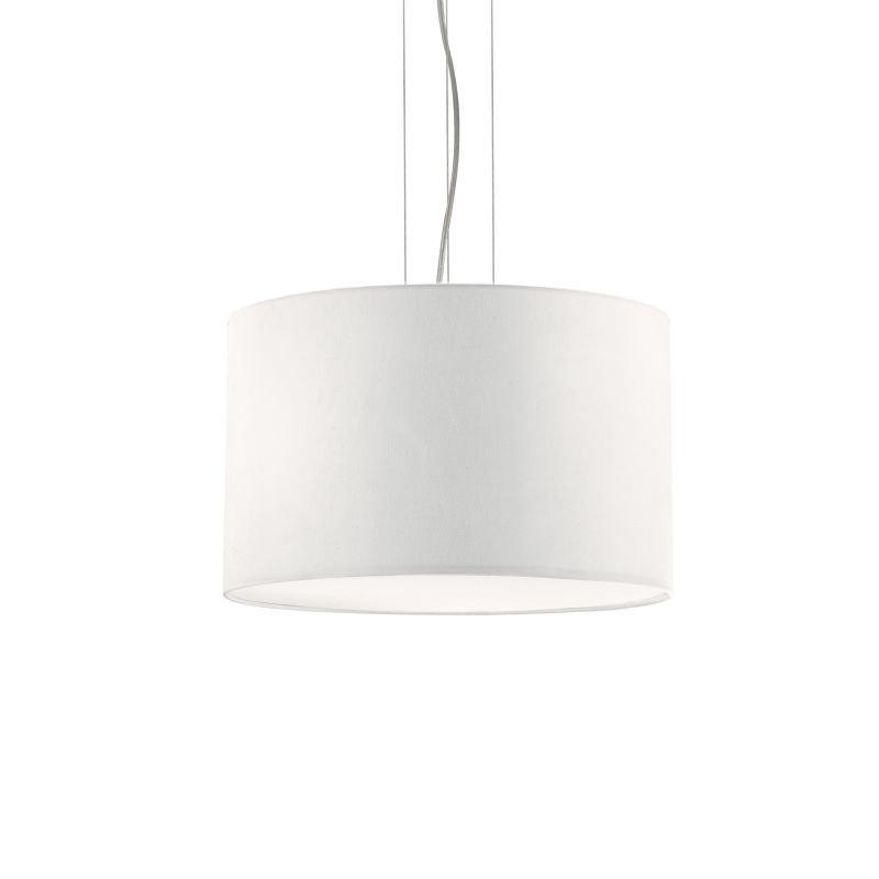 IdealLux-009681 - Wheel - White Fabric Round 3 Light Hanging Pendant