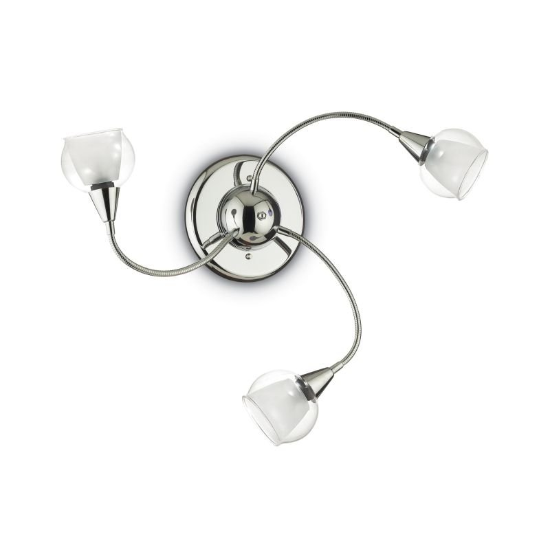 IdealLux-028682 - Tender - Clear and Frosted Glass with Chrome 3 Light Ceiling Lamp