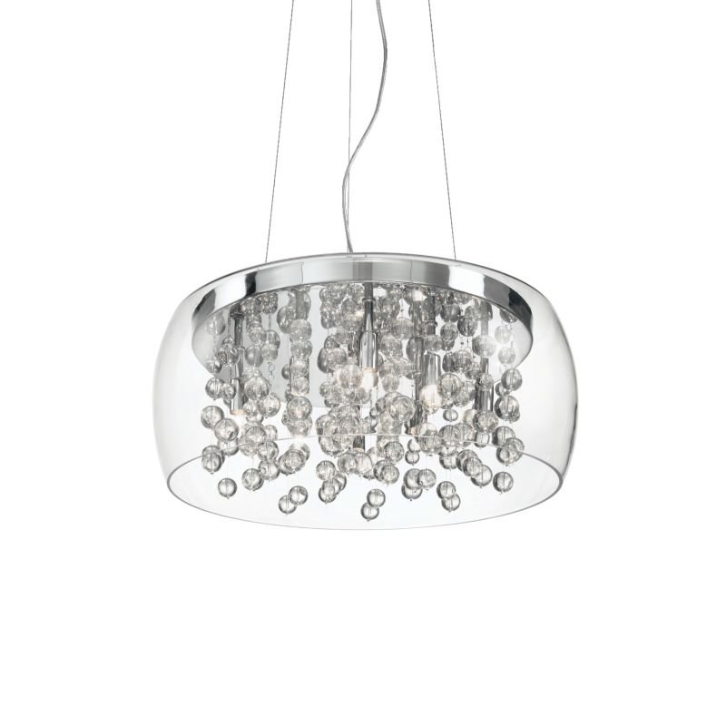 IdealLux-031750 - Audi-80 - Clear Glass with Crystal 8 Light Pendant