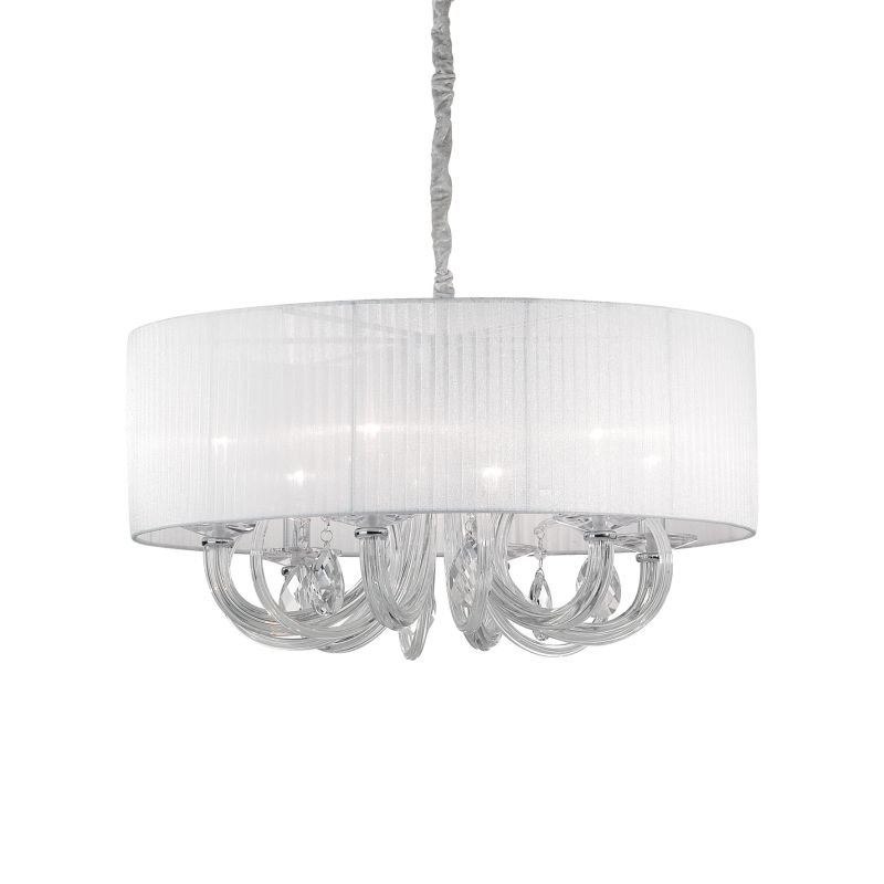 IdealLux-035826 - Swan - White Organza with Clear Glass 6 Light Pendant