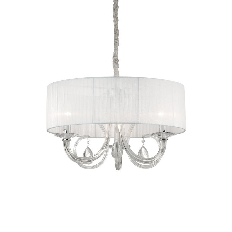 IdealLux-035840 - Swan - White Organza with Clear Glass 3 Light Pendant