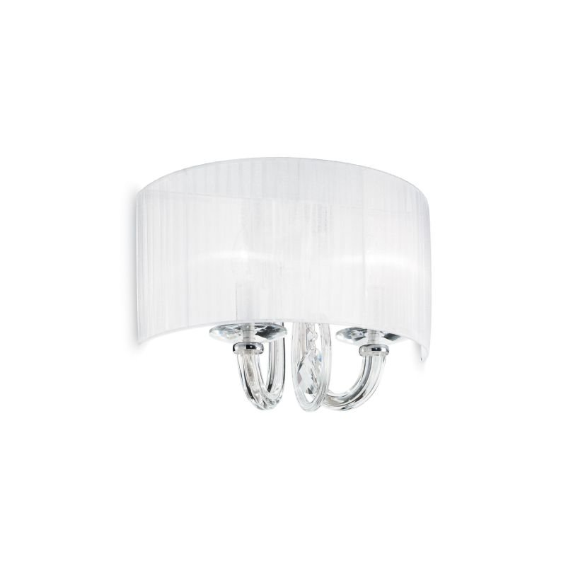 IdealLux-035864 - Swan - White Organza with Clear Glass 2 Light Wall Lamp