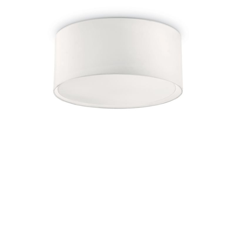 IdealLux-036014 - Wheel - White Fabric Round 3 Light Ceiling Lamp