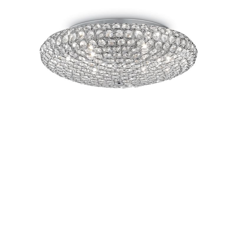 IdealLux-073255 - King - Crystal with Chrome 9 Light Ceiling Lamp