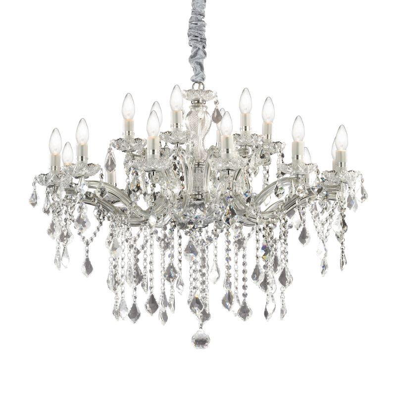 IdealLux-035604 - Florian - Crystal Chrome with Glass 12 Light Chandelier