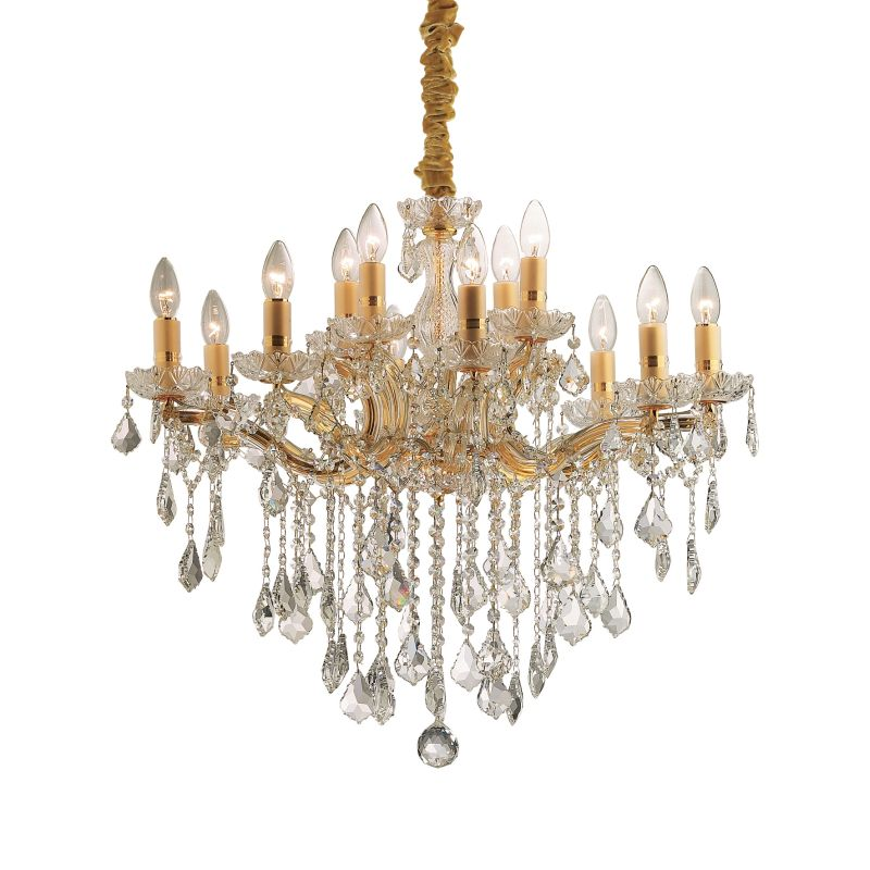 IdealLux-035611 - Florian - Crystal Gold with Glass 12 Light Chandelier