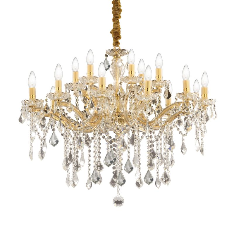 IdealLux-075181 - Florian - Crystal Gold with Glass 18 Light Chandelier