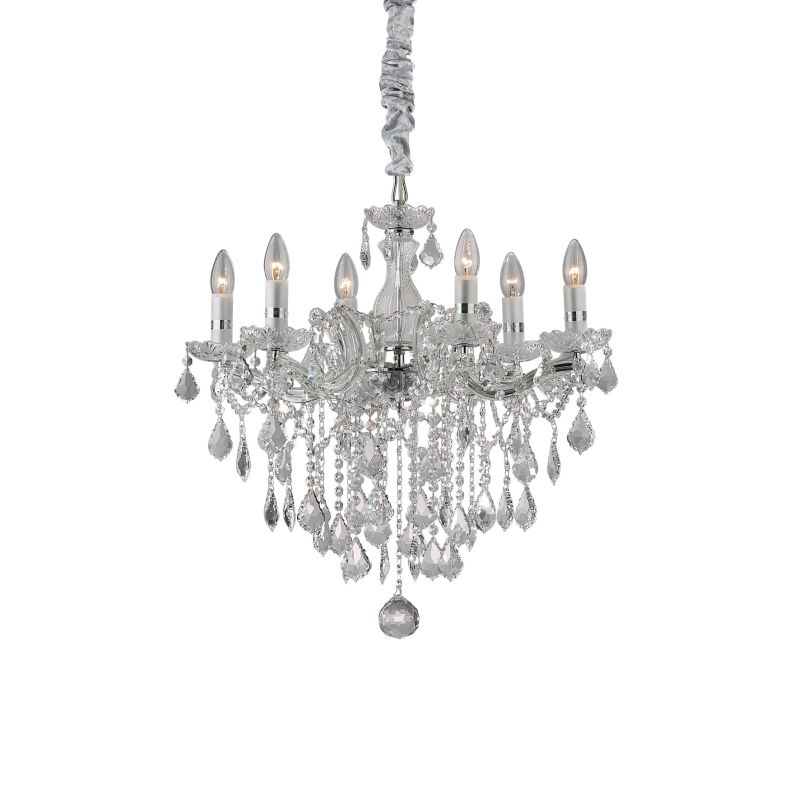 IdealLux-035628 - Florian - Crystal Chrome with Glass 6 Light Chandelier