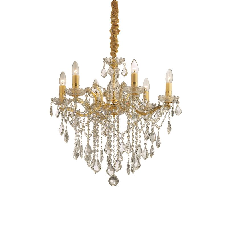 IdealLux-035635 - Florian - Crystal Gold with Glass 6 Light Chandelier