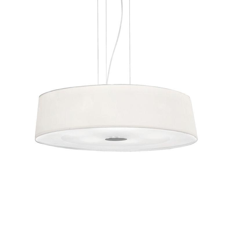 IdealLux-075518 - Hilton - White Fabric 6 Light Hanging Pendant