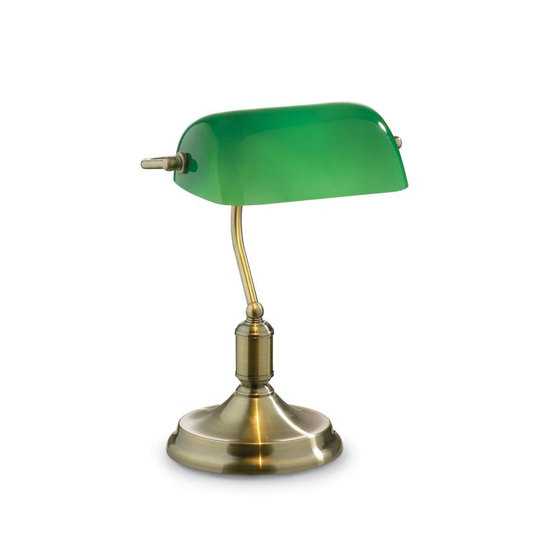 IdealLux-045030 - Lawyer - Green Glass with Antique Brass Banker Desk Lamp