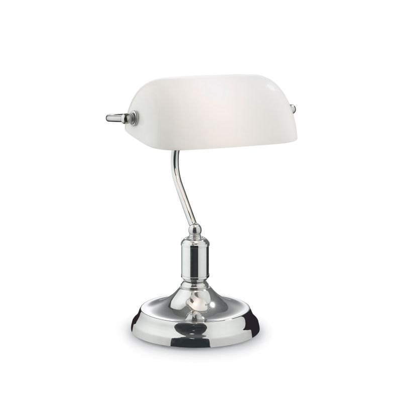 IdealLux-045047 - Lawyer - White Glass with Chrome Banker Desk Lamp