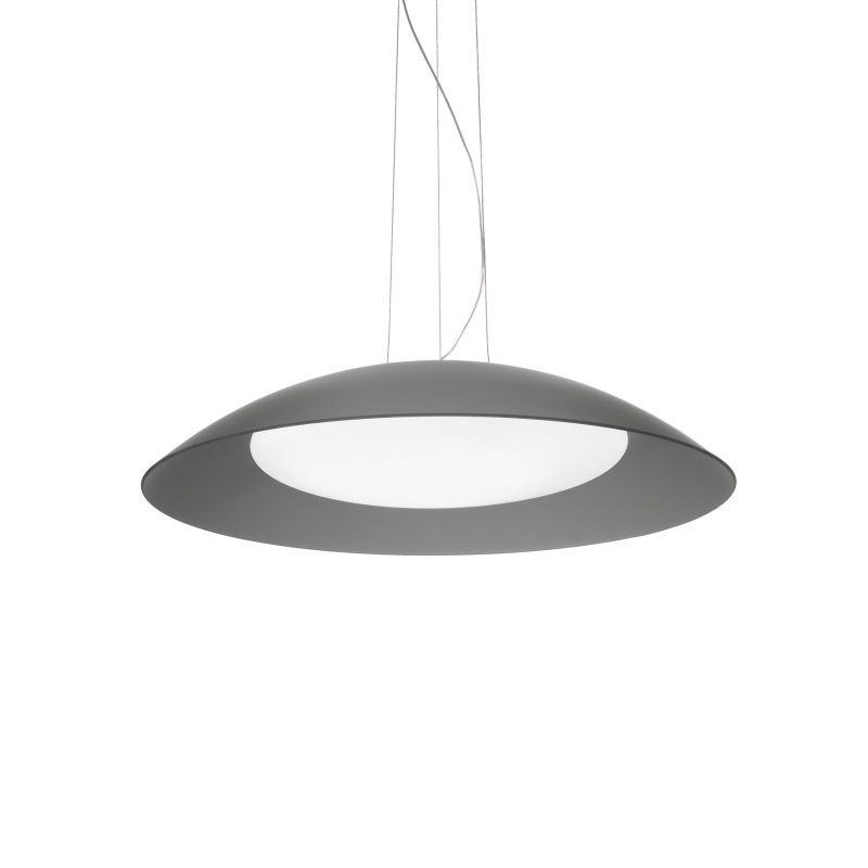 IdealLux-066592 - Lena - Small Grey Double Frosted Glass Diffuser 3 Light Pendant