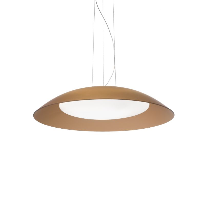 IdealLux-066608 - Lena - Small Brown Double Frosted Glass Diffuser 3 Light Pendant