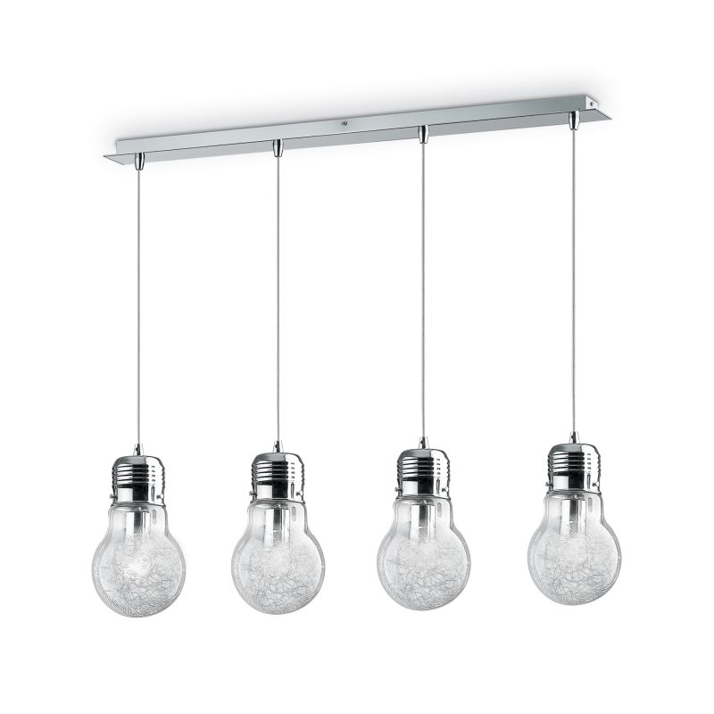 IdealLux-047799 - Luce Max - Clear Glass with Aluminum Thread 4 Light over Island Fitting