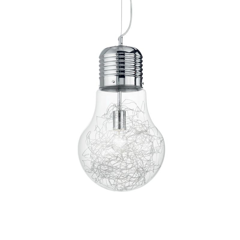 IdealLux-033662 - Luce Max - Big Clear Glass with Aluminum Thread Single Pendant