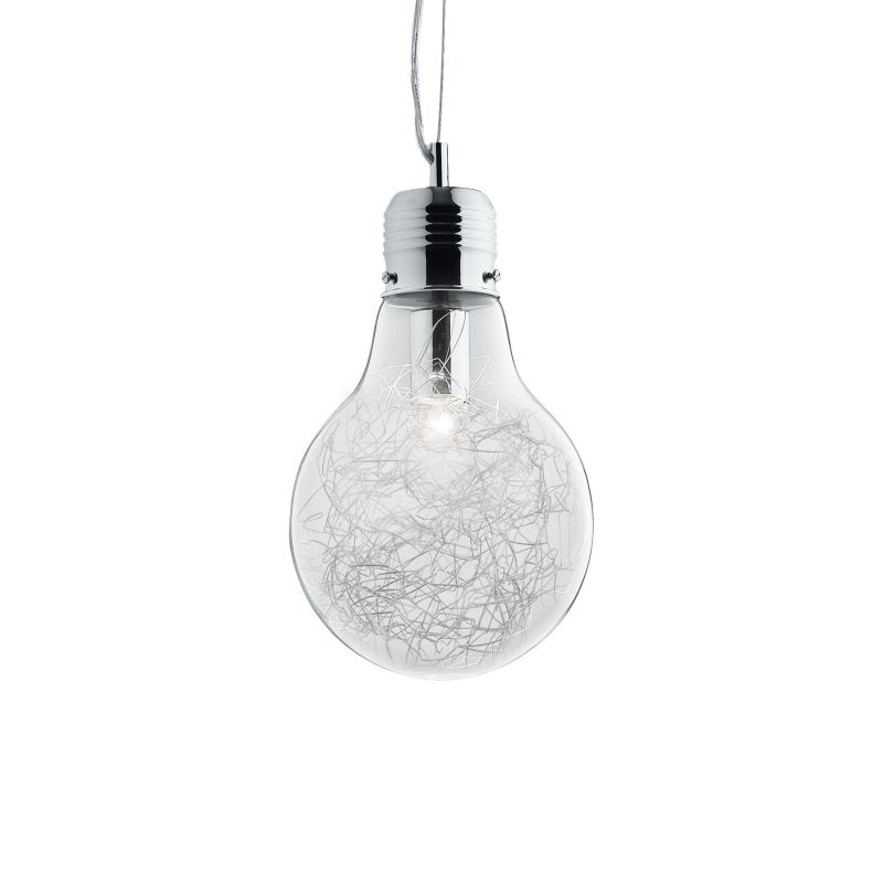 IdealLux-033679 - Luce Max - Small Clear Glass with Aluminum Thread Single Pendant