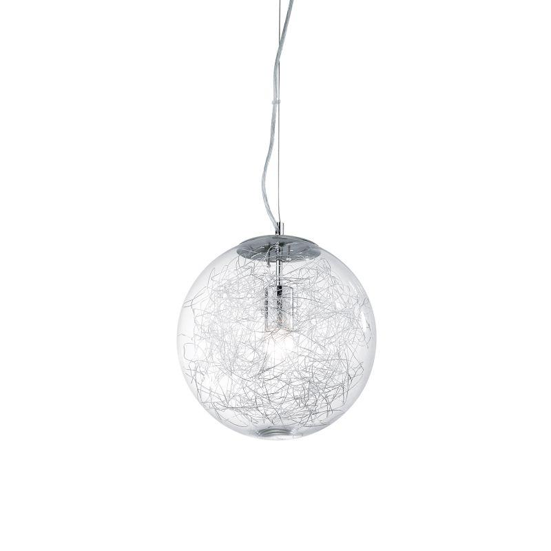 IdealLux-045115 - Mapa Max - Small Clear Glass Globe with Aluminum Thread Pendant