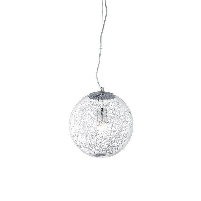 IdealLux-045122 - Mapa Max - Big Clear Glass Globe with Aluminum Thread Pendant