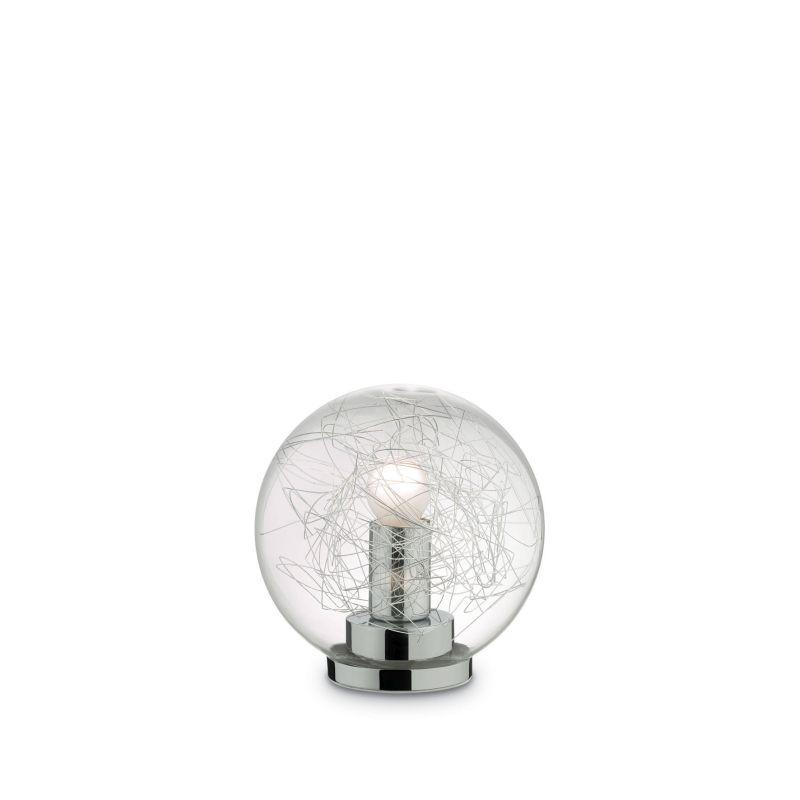 IdealLux-045139 - Mapa Max - Small Clear Glass Globe with Aluminum Thread Table Lamp