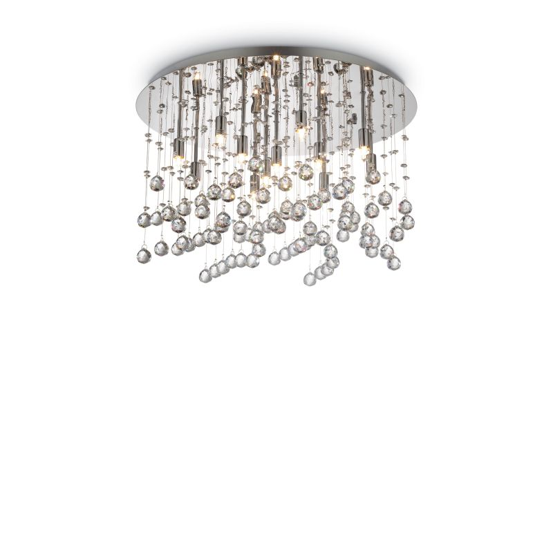 IdealLux-077802 - Moonlight - Crystal with Chrome 12 Light Round Ceiling Lamp