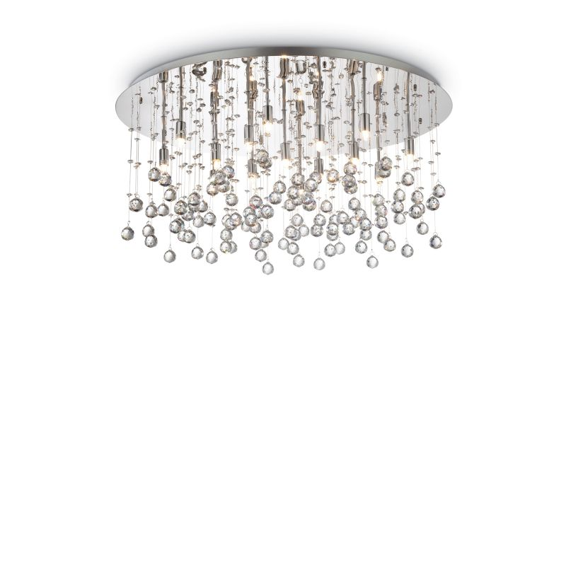IdealLux-077819 - Moonlight - Crystal with Chrome 15 Light Round Ceiling Lamp