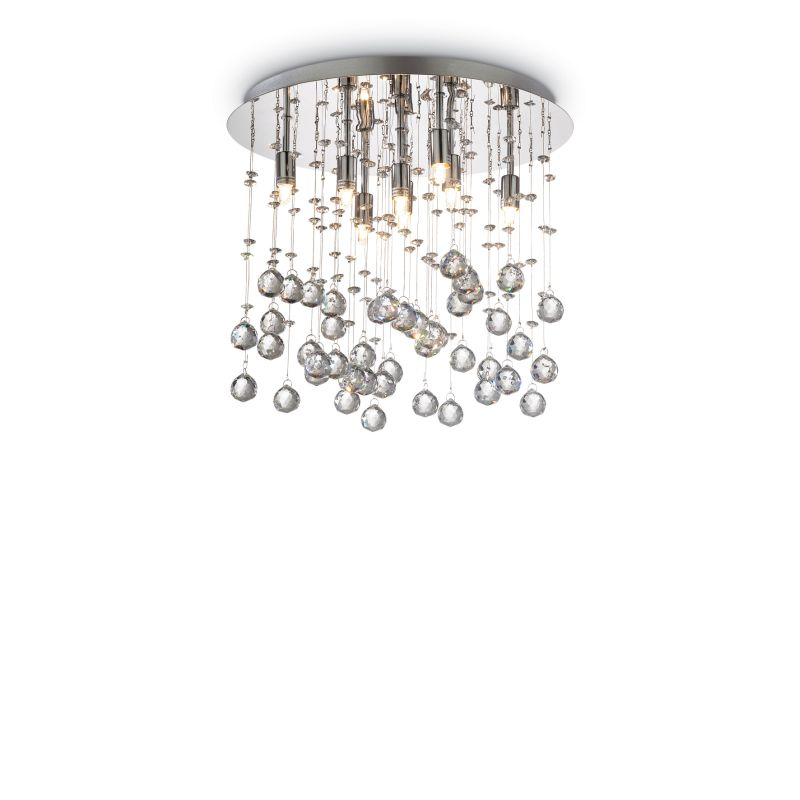 IdealLux-077796 - Moonlight - Crystal with Chrome 8 Light Round Ceiling Lamp