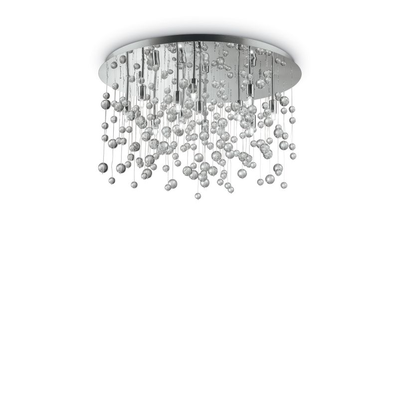 IdealLux-022239 - Neve - Crystal with Chrome 12 Light Ceiling Lamp