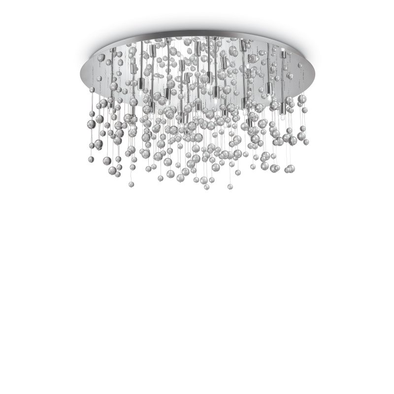 IdealLux-030784 - Neve - Crystal with Chrome 15 Light Ceiling Lamp
