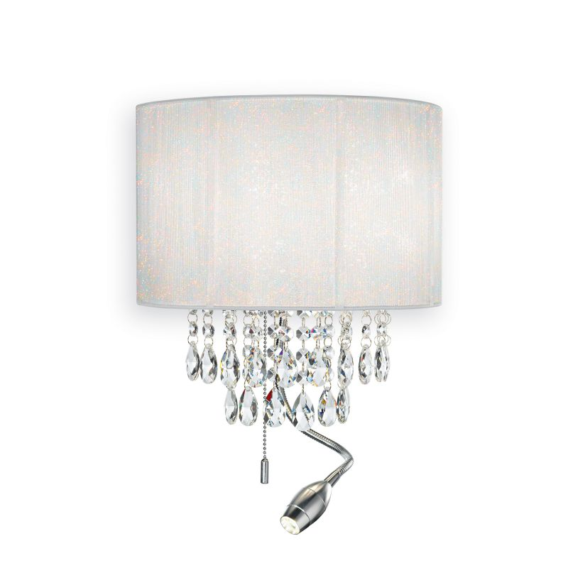 IdealLux-068268 - Opera - White Organza with Crystal Mother & Child Wall Lamp