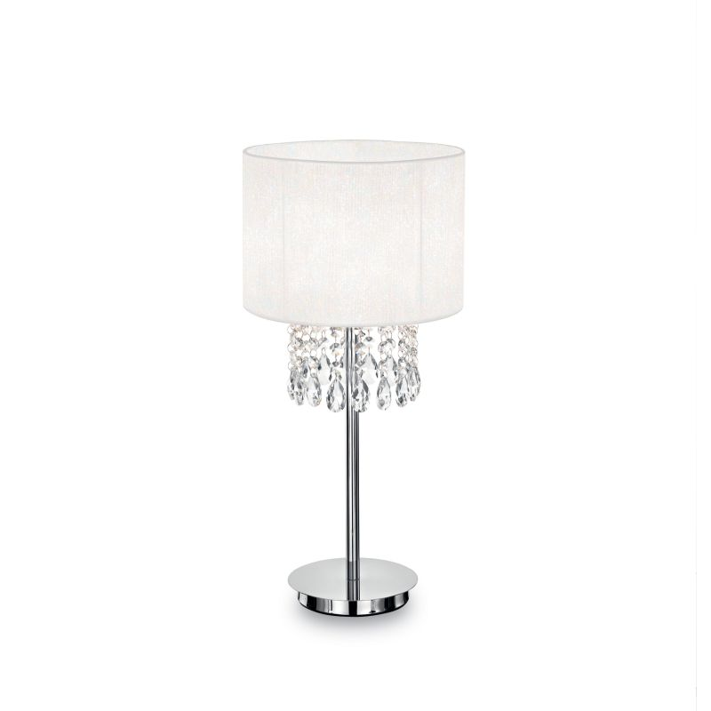 IdealLux-068305 - Opera - White Organza with Crystal Table Lamp