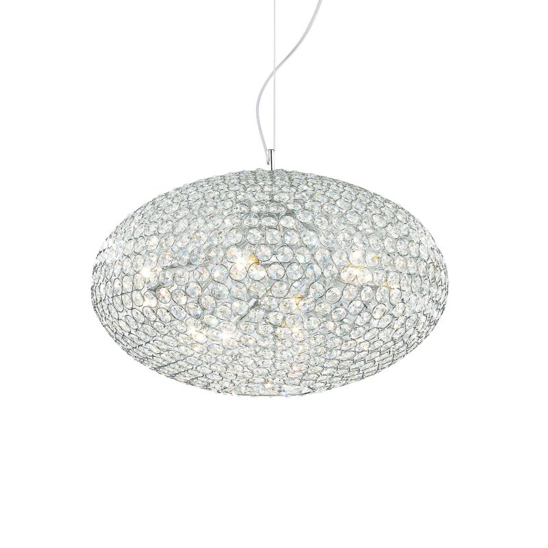 IdealLux-066387 - Orion - Crystal with Chrome 8 Light Hanging Pendant