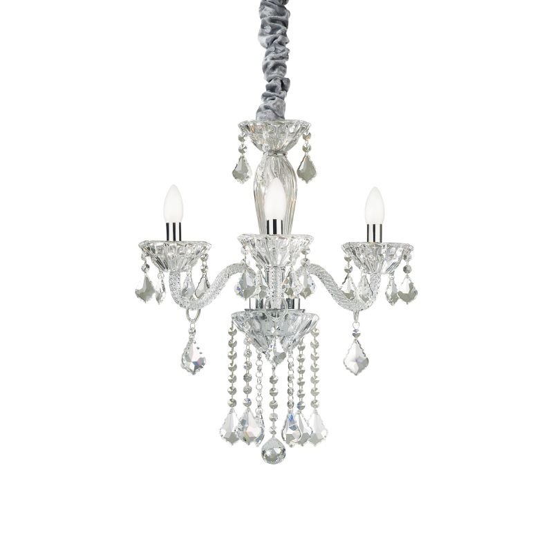 IdealLux-034706 - Tiepolo - Crystal and Transparent Glass 3 Light Chandelier