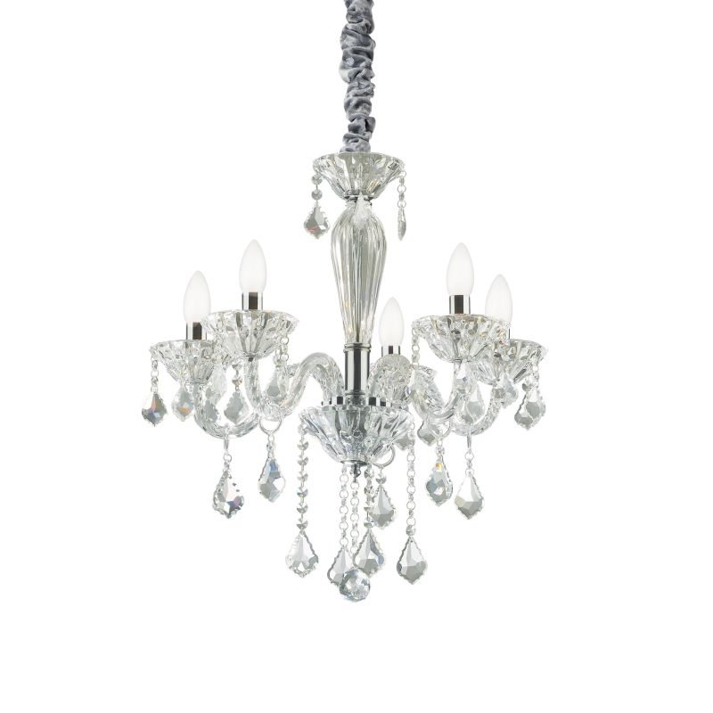 IdealLux-034713 - Tiepolo - Crystal and Transparent Glass 5 Light Chandelier