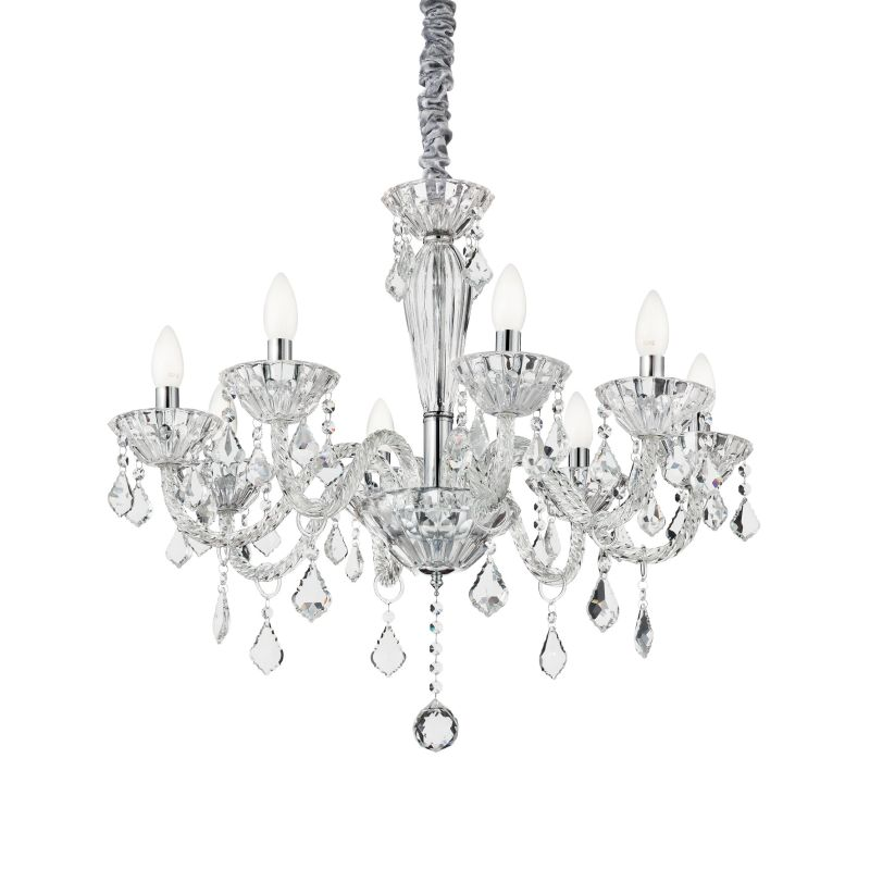 IdealLux-034720 - Tiepolo - Crystal and Transparent Glass 8 Light Chandelier