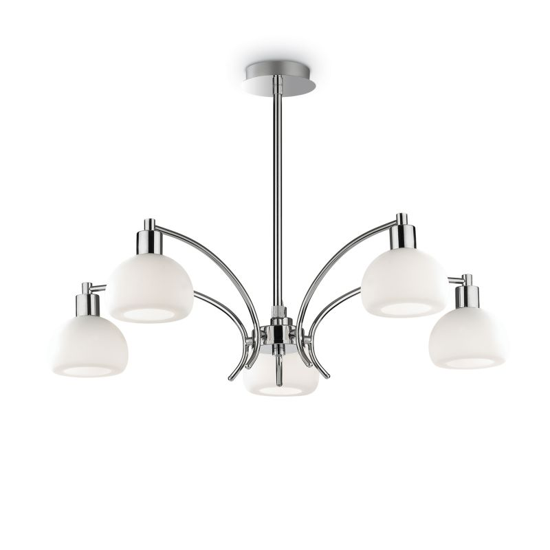 IdealLux-068459 - Tokyo - White Glass with Chrome 5 Light Central Fitting
