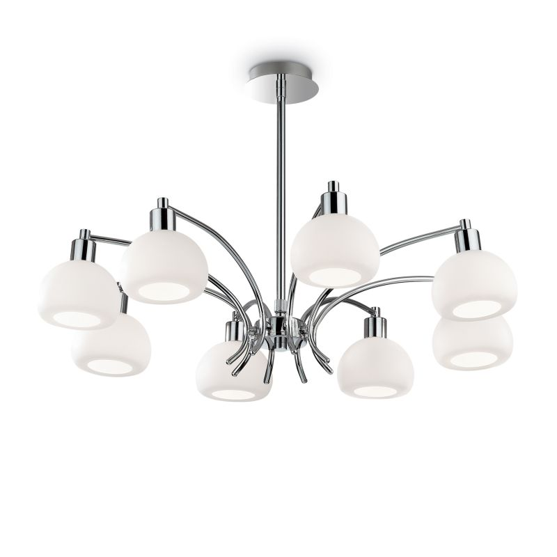 IdealLux-068466 - Tokyo - White Glass with Chrome 8 Light Central Fitting