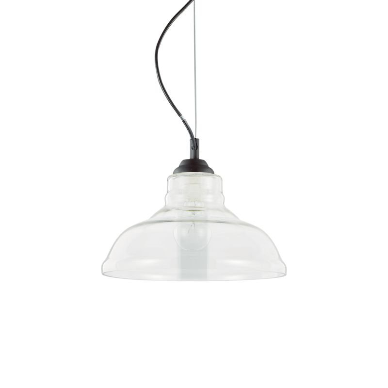 IdealLux-112336 - Bistro - Plate Clear Glass Single Hanging Pendant