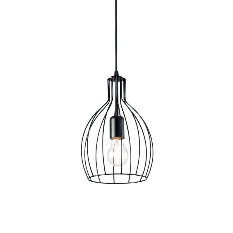 IdealLux-148151 - Ampolla - Black Metal Cage Single Hanging Pendant