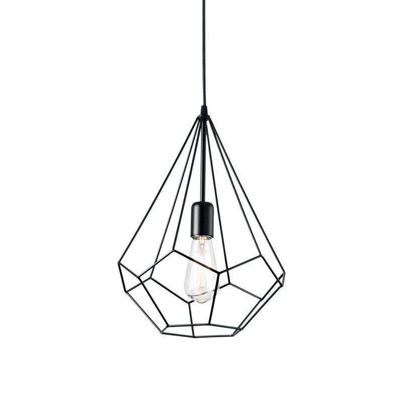 IdealLux-148175 - Ampolla - Black Metal Cage Single Hanging Pendant
