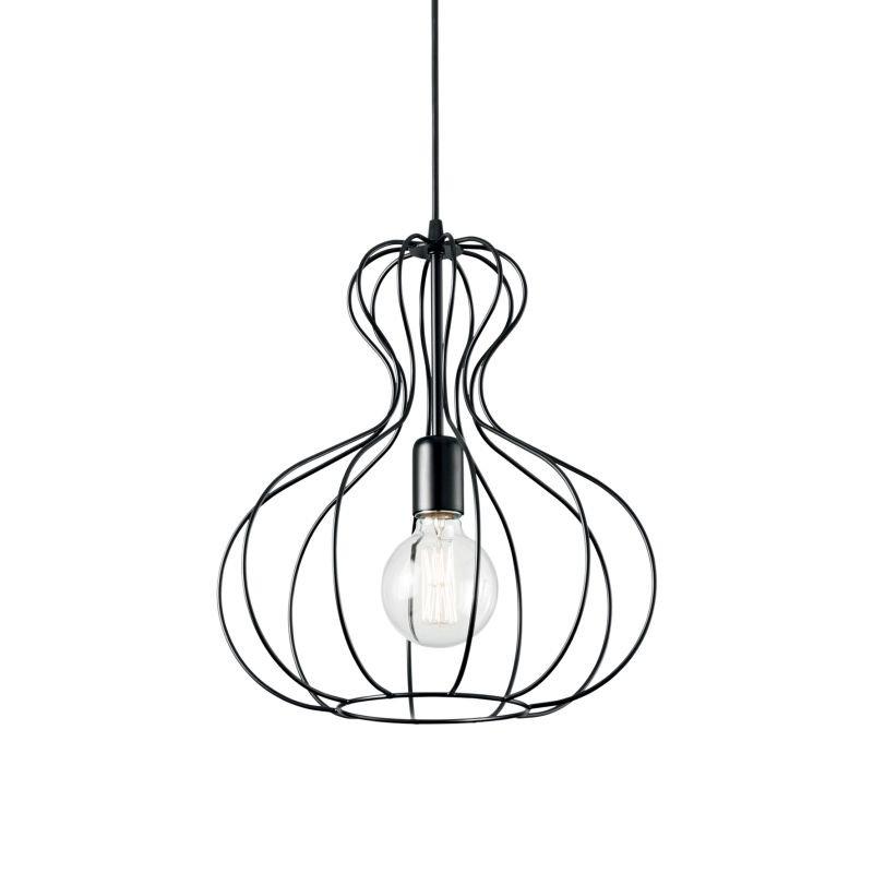 IdealLux-148502 - Ampolla - Black Metal Cage Single Hanging Pendant