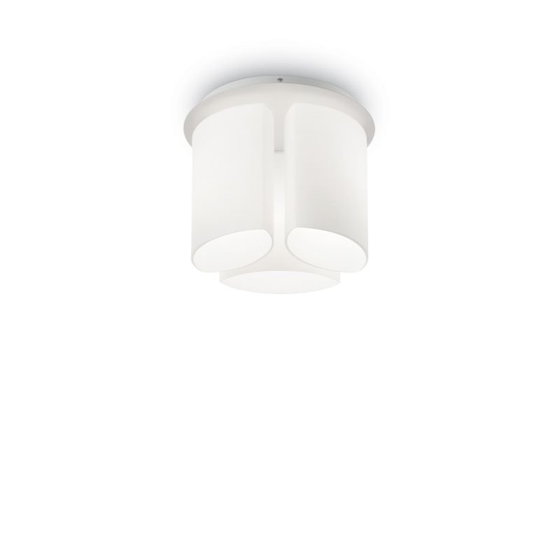 IdealLux-159638 - Almond - White Decorative Glass 3 Light Ceiling Lamp